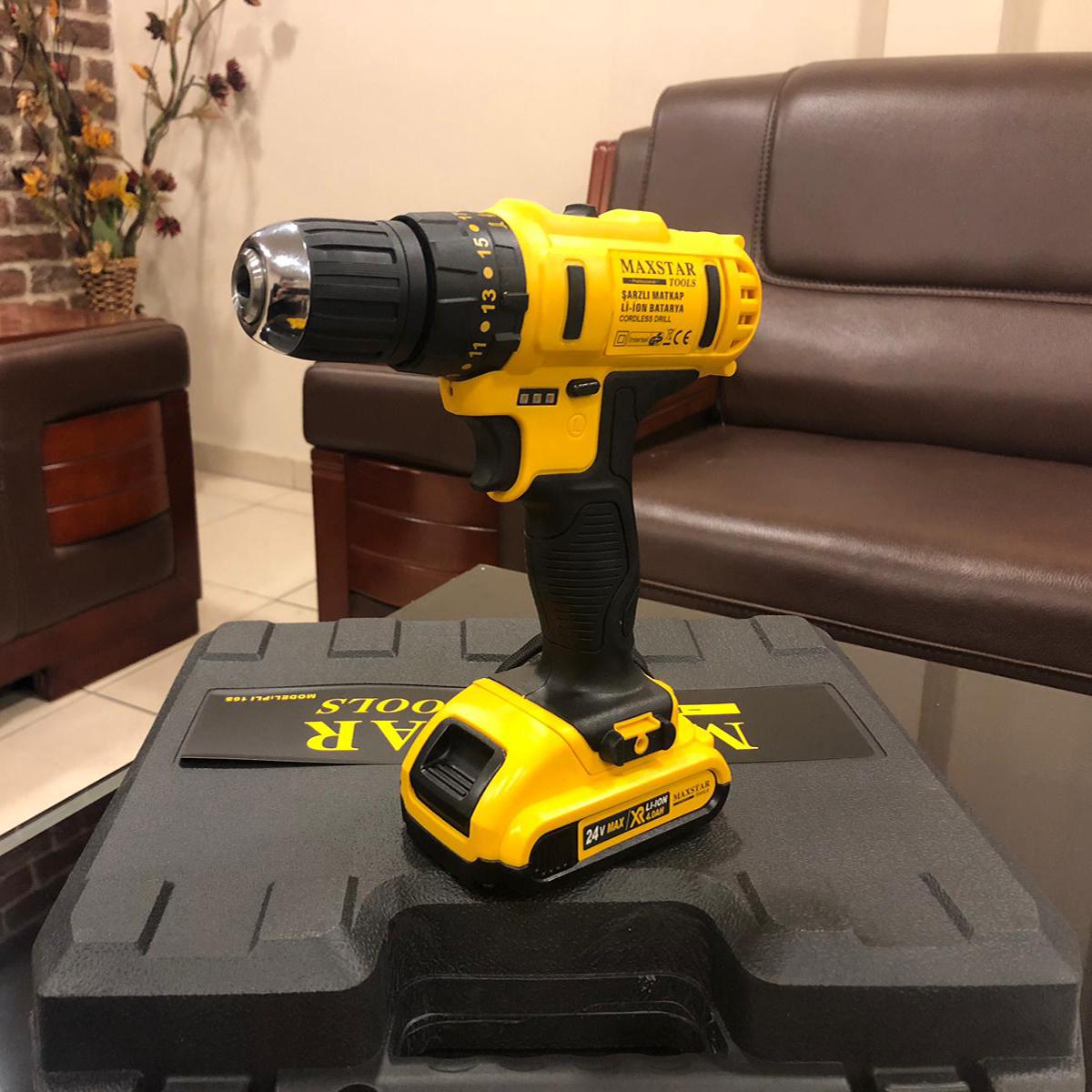 24v akülü vidalama darbeli matkap şarjlı çift batarya sarı_3